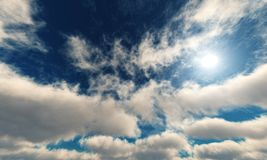 Beautiful sky with clouds and the sun. royalty free stock photo