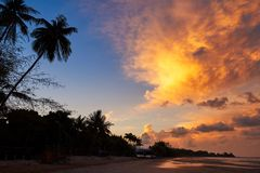 Beautiful sky and clouds before sunrise at Chao Lao beach. Beautiful sky and clouds in the morning before sunrise at Chao Lao beach, Chanthaburi province stock photography
