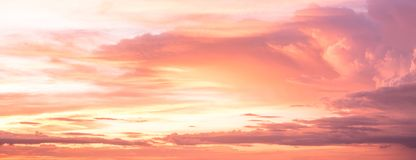 Beautiful sky with clouds at sunset. Nature background royalty free stock image