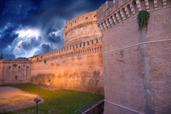 Beautiful sky colors over Castel Santangelo in Rome Stock Images