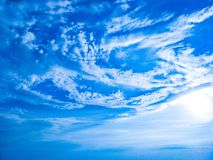 Beautiful sky complete with white clouds royalty free stock photo