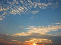 Beautiful sky in the evening, floating clouds, cool white When the sun is going to hide the horizon. Beautiful natural skies, floating clouds In the morning stock photo