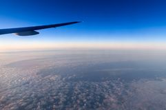 Beautiful sky in  evening from window airplane royalty free stock photo