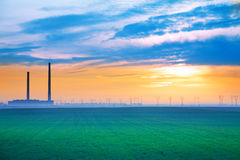 Beautiful sky with factory on background,  Romania Stock Photography