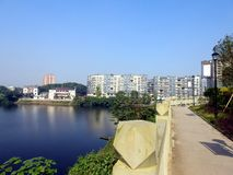 Beautiful sky and lake,Riverside block,xuantan city,sichuan,china royalty free stock photography