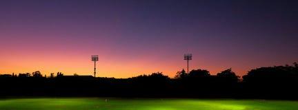 Beautiful sky light in sport stadium. At night royalty free stock photo