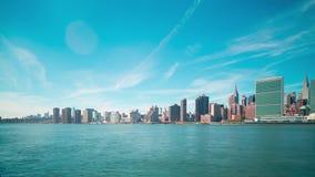 Beautiful sky manhattan panorama 4k time lapse from new york stock video