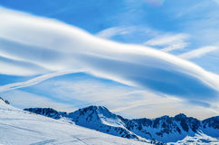 Beautiful sky at mountain valley. Fantastic sky with clouds at mountain valley Royalty Free Stock Photo