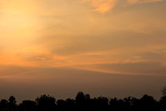 Beautiful sky, orange clouds in the evening time. Royalty Free Stock Photo