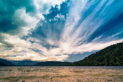 Beautiful sky over lake in New Zealand Royalty Free Stock Photos
