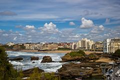 Beautiful sky over the town of Biarritz, France Royalty Free Stock Photos