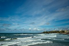 Beautiful sky over the town of Biarritz, France Royalty Free Stock Image
