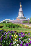 Beautiful sky and pagoda, Doi Inthanon National Park, Chiang mai Royalty Free Stock Images