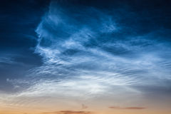 Beautiful sky phenomenon noctilucent clouds Stock Photo