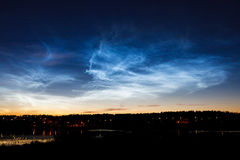 Beautiful sky phenomenon noctilucent clouds Stock Image