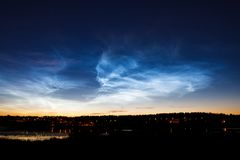 Beautiful sky phenomenon noctilucent clouds Stock Photography