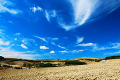 Beautiful sky and plowed land. Pale blue and white sky over cultivated land royalty free stock photo