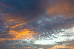 Beautiful sky and red orange yellow cloud with sunset in summer Stock Images