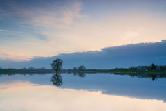 Beautiful sky reflected in lake, Royalty Free Stock Image