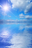 Beautiful sky reflected in the sea. Royalty Free Stock Photography