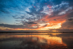 Beautiful sky River morning. And Fishing  boats Royalty Free Stock Photography