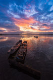Beautiful sky River morning. And wooden Fishing  boats Royalty Free Stock Image