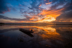 Beautiful sky River morning. And wooden Fishing  boats Royalty Free Stock Images