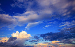 Beautiful sky scape of clouds in rainy season with morning light Royalty Free Stock Photos