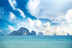 Beautiful sky, sea and island. For background stock images
