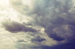 Beautiful sky with storm clouds and sunlight.  Royalty Free Stock Image