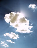 BEAUTIFUL SKY. The sun`s rays pass through the clouds Royalty Free Stock Photo
