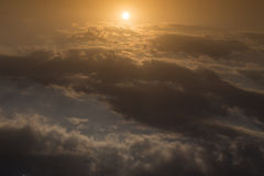 Beautiful sky, sunrise above sky and clouds, light rays Stock Photos