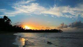 Caribbean sunset on tropical beach. Beautiful sky sunset on the ocean. Colorful Sky sunset on tropical beach stock footage