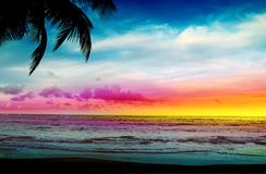 Colorful sunset on tropical beach. Stock Photo