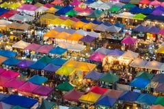 Beautiful sky after sunset over Bangkok flea market at night Royalty Free Stock Images