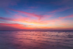 Beautiful sky after sunset over coastline. Natural landscape background Royalty Free Stock Images