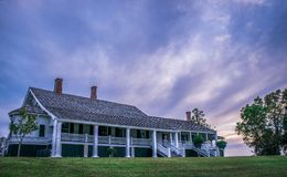 Beautiful sky at sunset over Winter Quarters Antebellum Home Royalty Free Stock Photo