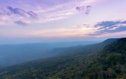 Beautiful sky and sunset at Pha Mak Duk Cliff,THAILAND Stock Photos