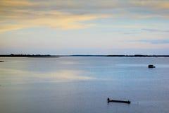 Beautiful sky sunset. At tropical Thai lake Stock Images