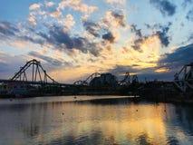 Beautiful Sky at Universal Studio Japan. Dawn at Universal Studio Japan Osaka. Beautiful cloud and sky Stock Photo