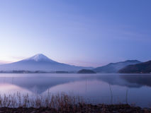 Beautiful sky view before sunrise from mountain fuji at kawaguch. Iko lake japan with soft focus foreground Stock Photos