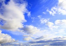 Beautiful sky with white clouds. Royalty Free Stock Photo