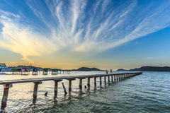 Beautiful sky and wooden bridge pier with twilight sky at mornin Royalty Free Stock Image