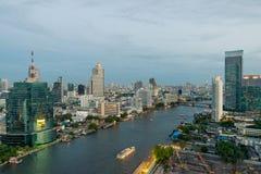 Beautiful skyline along Chao Phraya River in Bangkok at dusk. Thailand Royalty Free Stock Images