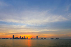 Beautiful skyline of Bahrain during dusk, HDR Royalty Free Stock Photo