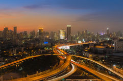 Beautiful skyline of Bangkok City downtown and road interchanged Royalty Free Stock Image