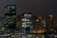 Beautiful skyline city of Sydney close to Opera harbor downtonw royalty free stock photography