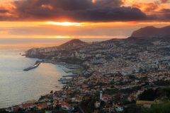 Funchal sunset cityscape royalty free stock photography