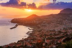 Funchal sunset landscape royalty free stock photo