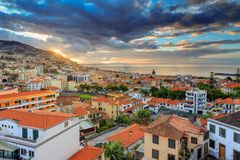 Funchal summer sunrise cityscape royalty free stock photo